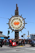 Crowd Scene Art - The Fishermans Wharf Sign . San Francisco California . 7D14225 by Wingsdomain Art and Photography