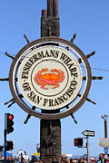 Crowd Scene Art - The Fishermans Wharf Sign . San Francisco California . 7D14228 by Wingsdomain Art and Photography