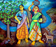 Goat Painting Originals - The fisherwomen by Jaspal Singh