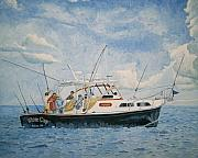 Cape Cod Paintings - The Fishing Charter - Cape Cod Bay by Dominic White
