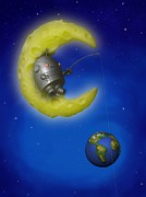 Story Book Prints - The Fishing Moon Print by Michael Knight