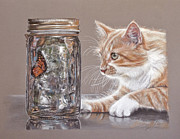 Cats Pastels Prints - The Fixation Print by Terry Kirkland Cook