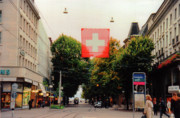 Tram Red Posters - The Flag in Zurich Switzerland Poster by Susanne Van Hulst