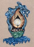Colored Pencil Prints - The Flame Never Dies Print by Karen Musick