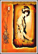 Feminine Mixed Media Prints - The Flapper Print by Mary Morawska