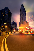 Trails Photo Posters - The Flat Iron Building with some magic happening Poster by John Farnan