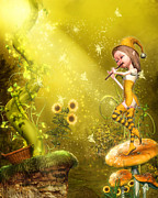 Magical Creatures Digital Art - The Flautist by Simone Gatterwe