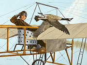 Aviator Painting Posters - The Fledgling Poster by Bob Wilson