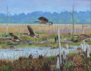Canadian Geese Paintings - The Flight by Gloria Smith