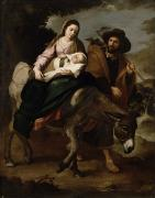 Nativities Framed Prints - The Flight into Egypt Framed Print by Bartolome Esteban Murillo