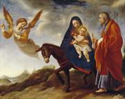 Blessed Virgin Mary Posters - The Flight into Egypt Poster by Carlo Dolci