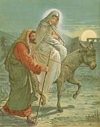 Christ Painting Posters - The Flight into Egypt Poster by John Lawson