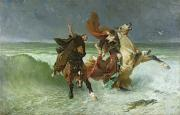 Flooding Painting Posters - The Flight of Gradlon Mawr Poster by Evariste Vital Luminais