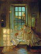 Open Window Framed Prints - The Flight of the Swallows Framed Print by John Henry Lorimer