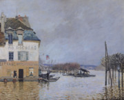 Banks Framed Prints - The Flood at Port Marly Framed Print by Alfred Sisley