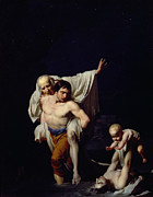 Flooding Painting Prints - The Flood Print by Jean-Baptiste Regnault