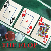 Playing Cards Painting Framed Prints - The Flop Framed Print by Debbie DeWitt