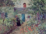 Roofs Paintings - The Flower Garden by Abbott Fuller Graves