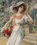 Smiling Painting Prints - The Flower Girl Print by Emile Vernon