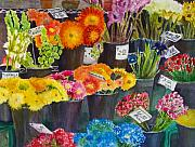 Stalls Paintings - The Flower Market by Karen Fleschler