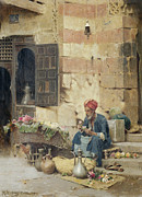 Street Framed Prints - The Flower Seller Framed Print by Raphael von Ambros