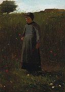 Little Girl Girl Posters - The Flowers of the Field Poster by Winslow Homer