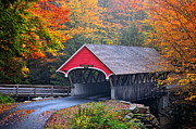 Fall Scenes Framed Prints - The Flume Covered Bridge Framed Print by Thomas Schoeller