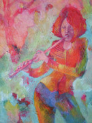 Jazz Artwork Painting Originals - The Flute Player by Susanne Clark