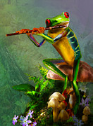 Tree Frog Art - The flute playing tree frog by Gina Femrite