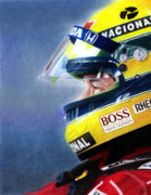 Portrait Mixed Media Posters - The Focus of Ayrton Poster by Lyle Brown