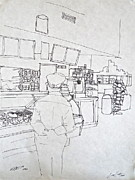 Times Square Drawings Originals - The Food Stop by Wade Hampton