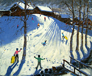 Village Paintings - The footbridge by Andrew Macara