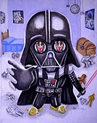 Darth Vader Paintings - The Force is Strong with this One by Al  Molina