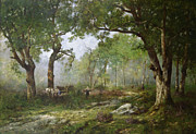 Horse And Wagon Prints - The Forest of Fontainebleau Print by Leon Richet