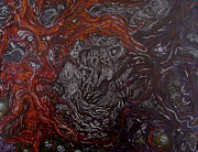 Trippy Paintings - The Forest Of The Dead Demons And Trapped Tree People by Sam Hane
