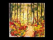 Landscapes Glass Art Originals - The forest way by Osnat Menshes
