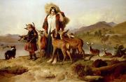 Wild Animals Paintings - The Foresters Family by Sir Edwin Landseer