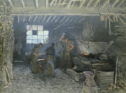 Metalwork Prints - The Forge Print by Alfred Sisley