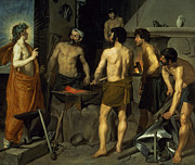 Worker Painting Metal Prints - The Forge of Vulcan Metal Print by Diego Velazquez