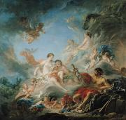 Tapestry Cartoon Paintings - The Forge of Vulcan by Francois Boucher