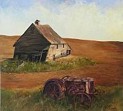 Old Tractors Paintings - The forgotten farm by Chris Neil Smith