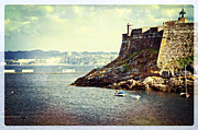 Lighthouse Digital Art - The Fort on the Harbor - La Coruna by Mary Machare