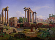 Roman Columns Painting Prints - The Forum Rome  Print by Gustav Palm