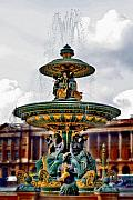 Paris Digital Art Framed Prints - The Fountain at Le Concorde Framed Print by Greg Sharpe