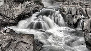 Great Falls Park Maryland Framed Prints - The Fountain Black and White Framed Print by JC Findley