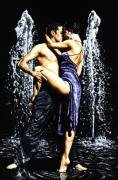 Dancers Posters - The Fountain of Tango Poster by Richard Young