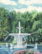 Forsythe Fountain Savannah Framed Prints - The Fountain Framed Print by Stanton D Allaben