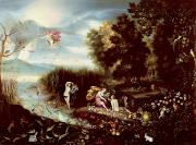 Mystical Landscape Art - The Four Elements  by Flemish School