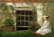 Girl Painting Posters - The Four Leaf Clover Poster by Winslow Homer