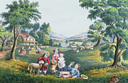 Family Print Paintings - The Four Seasons of Life Childhood by Currier and Ives